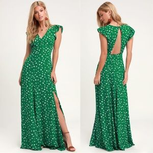 Lulus Green Floral Maxi Dress